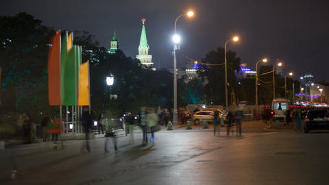 Manezhnaya street night timelapse 4K Footage