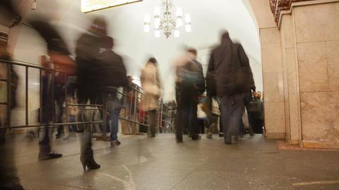 Subway station crowd timelapse 4K Footage