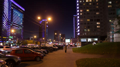New Arbat street night hyperlapse Footage