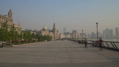 Bund embankment day walk hyperlapse 4K Footage