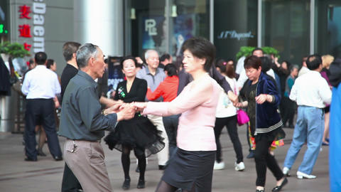 People Dance On The Street In Shanghai 8148 stock footage