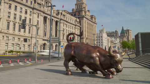 Bund Financial Bull hyperlapse 4K Footage
