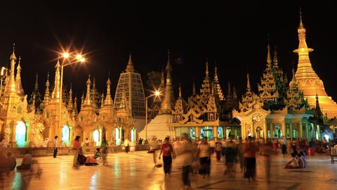 Shwedagon Pagoda night timelapse 4K Footage