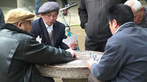 Chinese men plays cards 4080 Footage