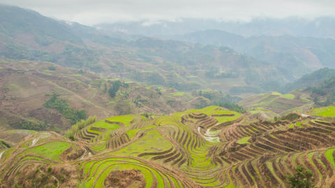 Rice terraces in Dazai village zoom timelapse Footage