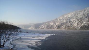 Siberia Yenisei River Winter Landscape stock footage