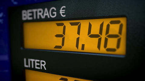 German gas pump display starts fueling at 33 Euros Animation