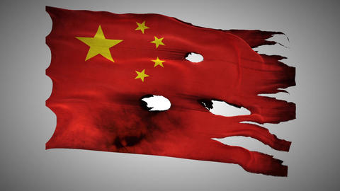 China Perforated, Burned, Grunge Waving Flag Loop  stock footage