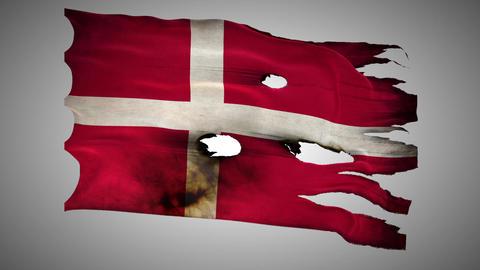 Denmark perforated, burned, grunge waving flag loo Footage