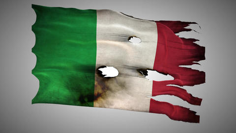 Italian Perforated, Burned, Grunge Waving Flag Loo stock footage