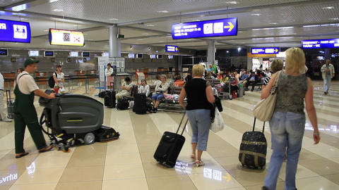 International airport Borispol. Waiting space in new terminal F Footage