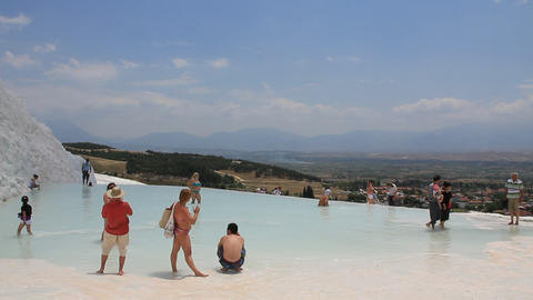 Pamukkale - cotton castle, Denizli Province in southwestern Turkey Footage