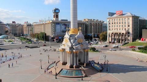 Independence square. Maidan Nezalezhnosti in Kiev, Ukraine Footage