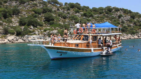 Pleasure yacht. Turkey, Kekova-Simena Region Footage