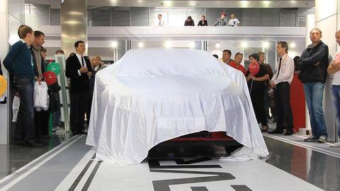 Motor show. Presentation of new car Footage
