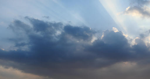 4k Panoramic Of Dark Altocumulus Clouds Smoke Flying In Cloudy Sun Ray Sky stock footage