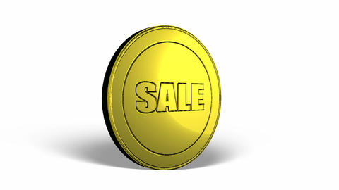 Sale Logo Coin Spinning Looping Video Animation