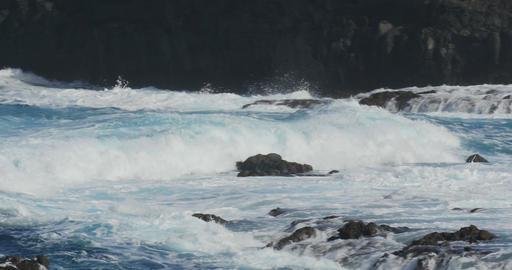 4K, Dramatic water waves splashing and crashing ag Live Action