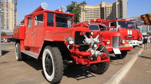 Red old firetrucks Footage