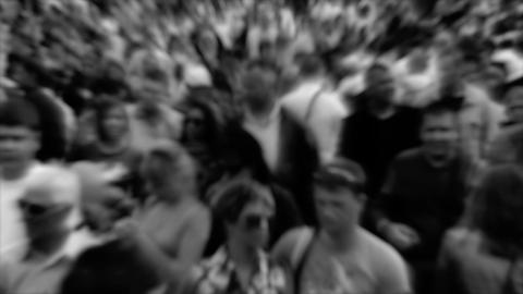 Crowd of people. Monochrome version with blur Footage