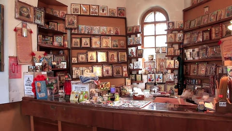 6060 Icon Shop In Orthodox Church stock footage
