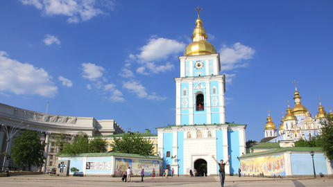Mikhailovsky Golden-Domed Monastery in Kiev, Ukraine Footage