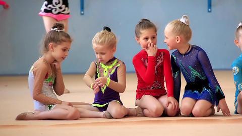 Girls gymnasts having training in gym before examination in school of gymnastics Footage