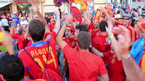 Spanish football fans before final match of European Football Championship Footage