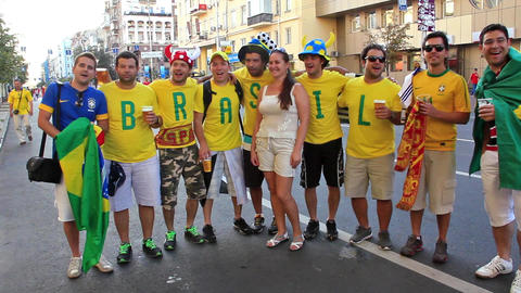 Football fans from Brazil before final match of European Football Championship Live Action