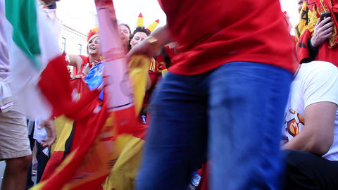 Spanish and Italian football fans before final match of EURO 2012 Footage