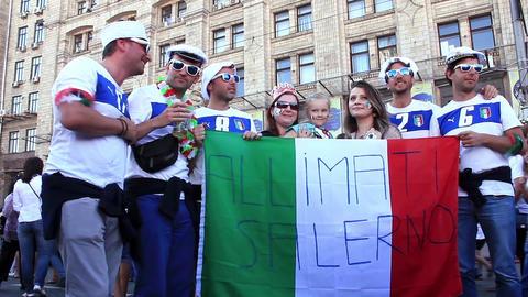 Italian football fans before final match of European Football Championship Live Action