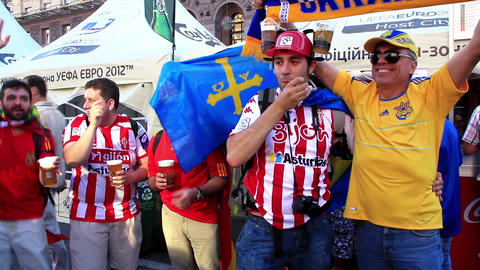 Spanish football fans from Asturias before final match of EURO 2012 Live Action