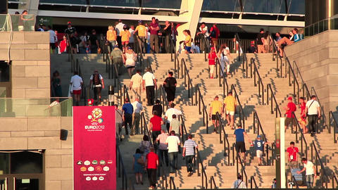 Football fans on Olympiyskiy stadium in Kiev before final match of EURO 2012 Live Action