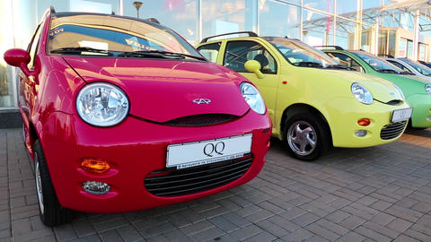 Many-coloured cars Chery QQ at motor show Footage