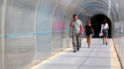 People Inside Tunnel stock footage