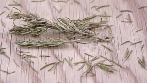 Rosemary Herb Sprigs and Leaves Dolly Footage