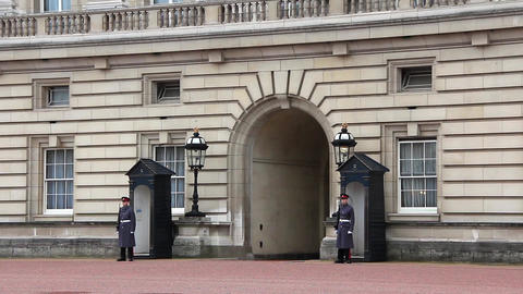Guards of Buckingham palace in London, England Footage