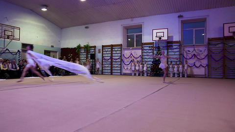Young girls gymnasts at the New Year performance in school of gymnastics Footage