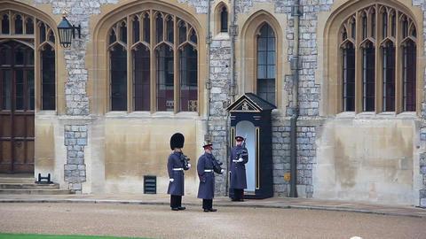 Guardsmans of the Windsor Castle, England Footage