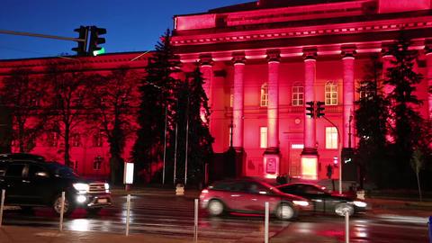 Red building of Kiev National University, Ukraine Stock Video Footage