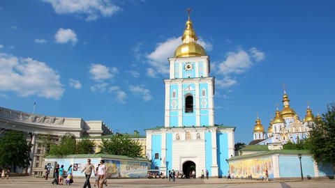 4K Mikhailovsky Golden-Domed Monastery Footage