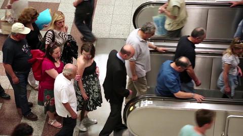 People on escalator Footage