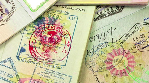 International passports with visas Footage