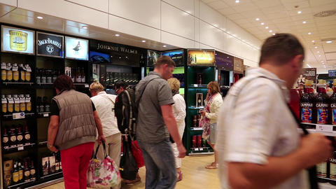 People inside duty free store Footage