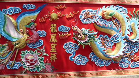 Bas-relief Of Crane And Dragon stock footage