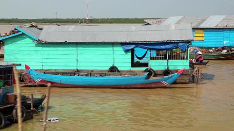 Floating village of Vietnamese refugees on Tonle Sap lake in Siem Reap, Cambodia Footage