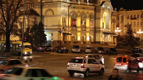 Road traffic near opera house in Kiev, Ukraine Footage
