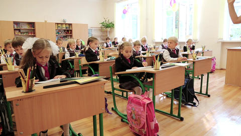 Schoolchilds In Classroom stock footage