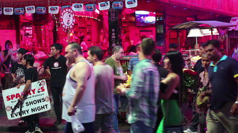 Walking Street - red-light district in Pattaya, Thailand Footage