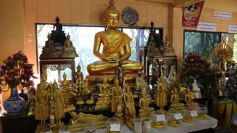 Golden Buddha statues inside Buddhist temple Footage